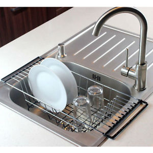 Details About Over The Sink Dish Drying Rack Rustproof Stainless