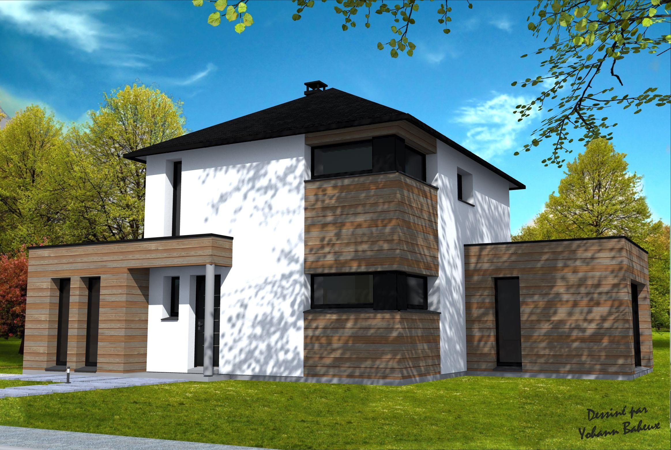 Maison r 1 avec extensions cubiques maison en projet maison construction maison et toiture for Maison cubique toit 4 pans