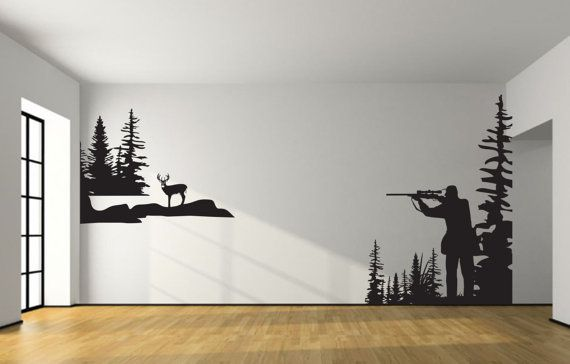 Whitetail Deer Hunting Wall Decal Large Hunter Deer By JobstCo