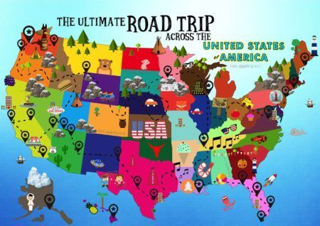 The Ultimate Road Trip Map Of Things To Do In The USA Hand - Cartoon map of the us