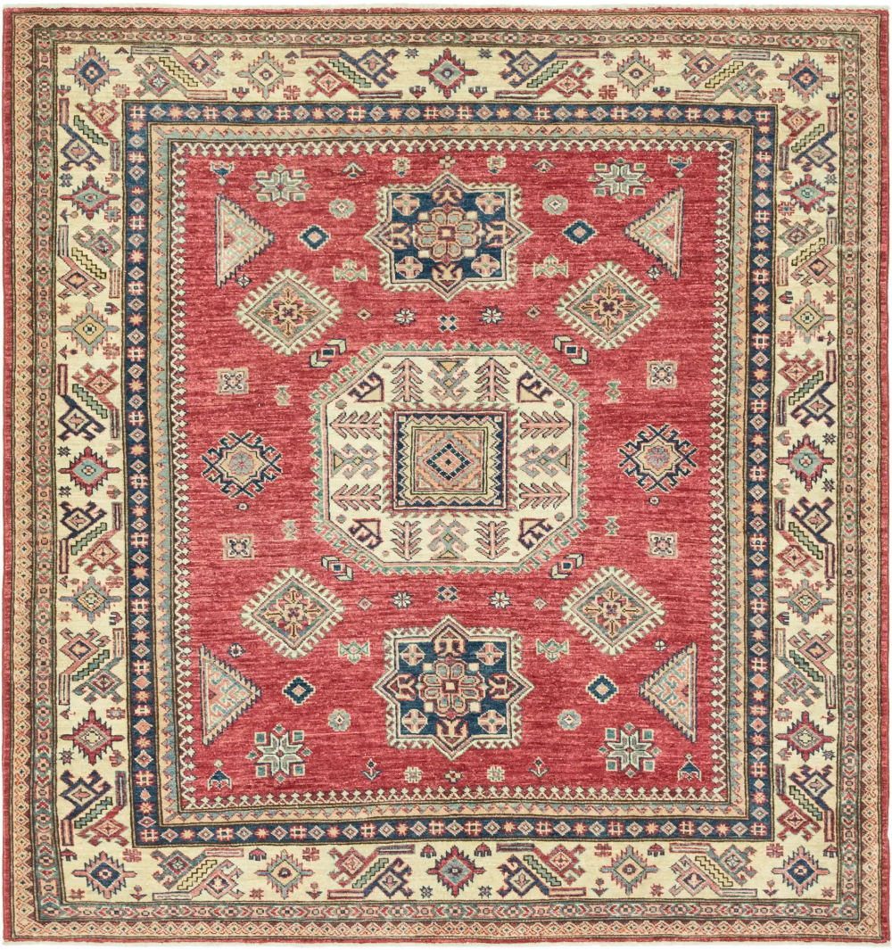 Red 5 11 X 6 2 Kazak Square Rug Esalerugs Rugs Square Rugs Square Area Rugs