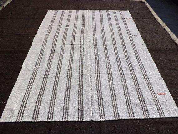 Black Stripe Grayish Kilim Rug 9 6 X6 10 Feet 290x207 Cm Decorative Turkish Anatolian Ethnic