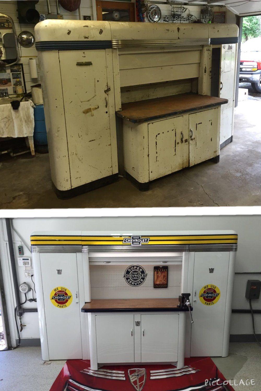 Alemite Service Merchandisers 1940 S 50 S In 2020 Metal Garage Cabinets Garage Accessories Garage Decor