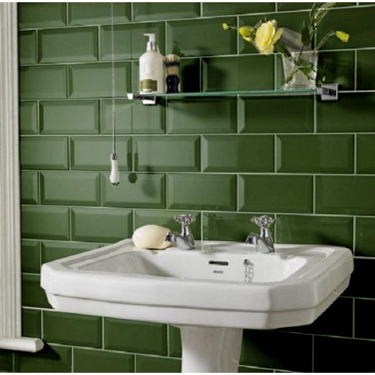 Dark Green Kitchen Ideas: Metro Tiles Bathroom, Brick Tiles Bathroom