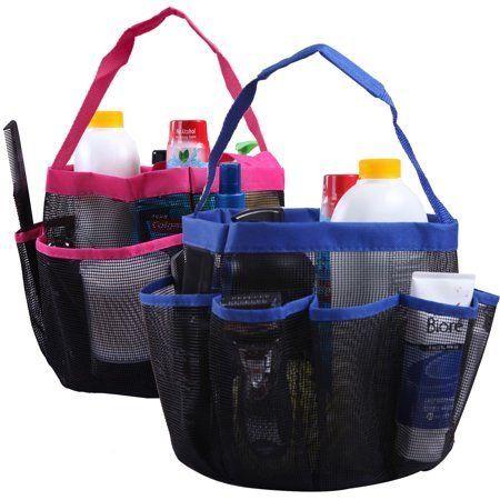 Shower Caddy Mesh Bag College Dorm Bathroom Carry Tote ...