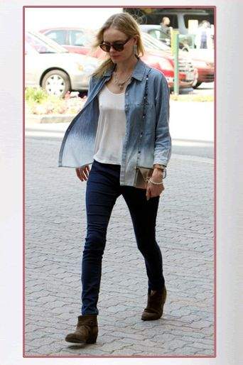 Kate Bosworth wore a 7 For All Mankind Denim Button Down Shirt