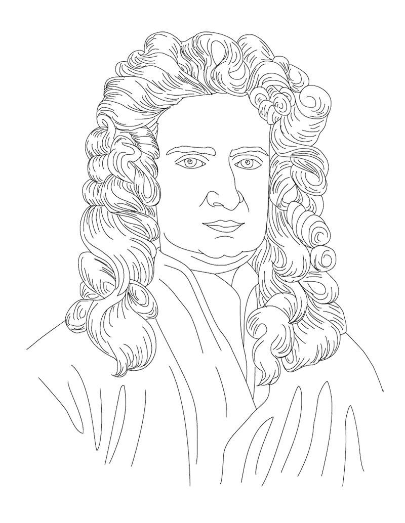 Isaac Newton Face Coloring Page For Kids | Mystery of History 3 ...
