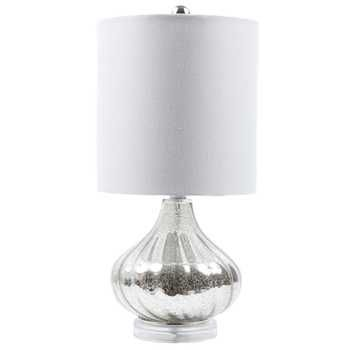 Small Fluted Mercury Glass Lamp With White Shade Fun