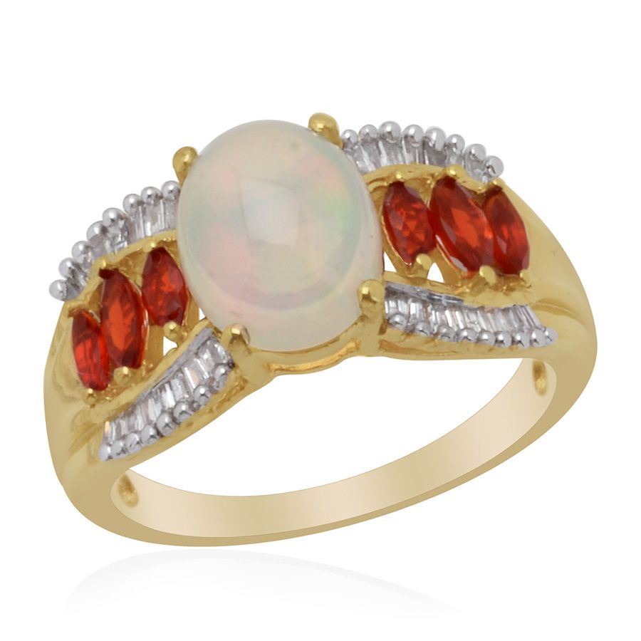 Liquidation Channel: Ethiopian Welo Opal, Jalisco Fire Opal, and Diamond Ring in 14K Yellow Gold Overlay Sterling Silver (Nickel Free)