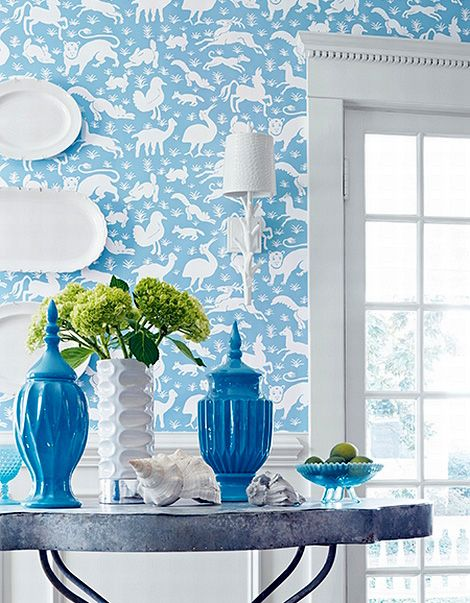 Affordable Sky Blue Decor With White Animals Wallpaper With Wallpaper For Homes  Decorating.