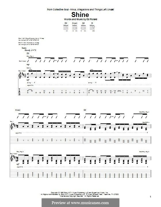Shine (Collective Soul): For guitar with tab by Ed Roland | Music I ...