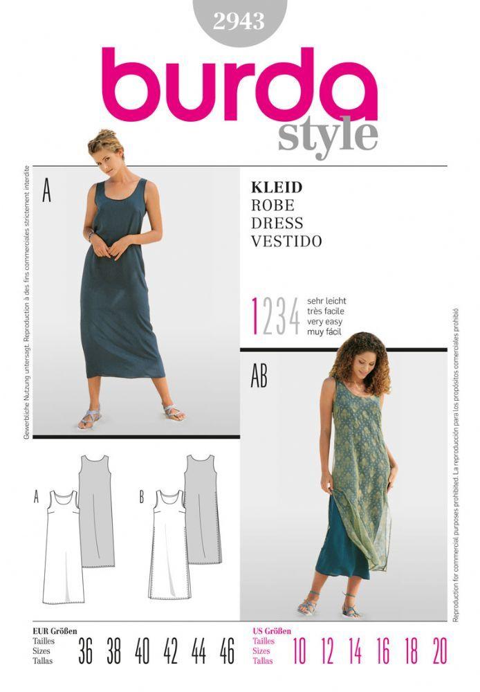 2943 Burda Pattern Misses Dress with Optional Sheer Overlay ...