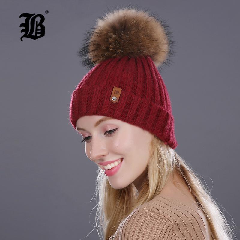 db7c58cec739a  FLB  Winter Hat For Women Girls Knitted Wool Beanies Cap Natural Raccoon Mink  Fur Pom Poms Hat Female Bonnet Femme Skullies