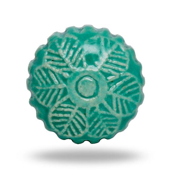 Retro Holiday Flower Door Knob in Turquoise Round Decorative Knob ...