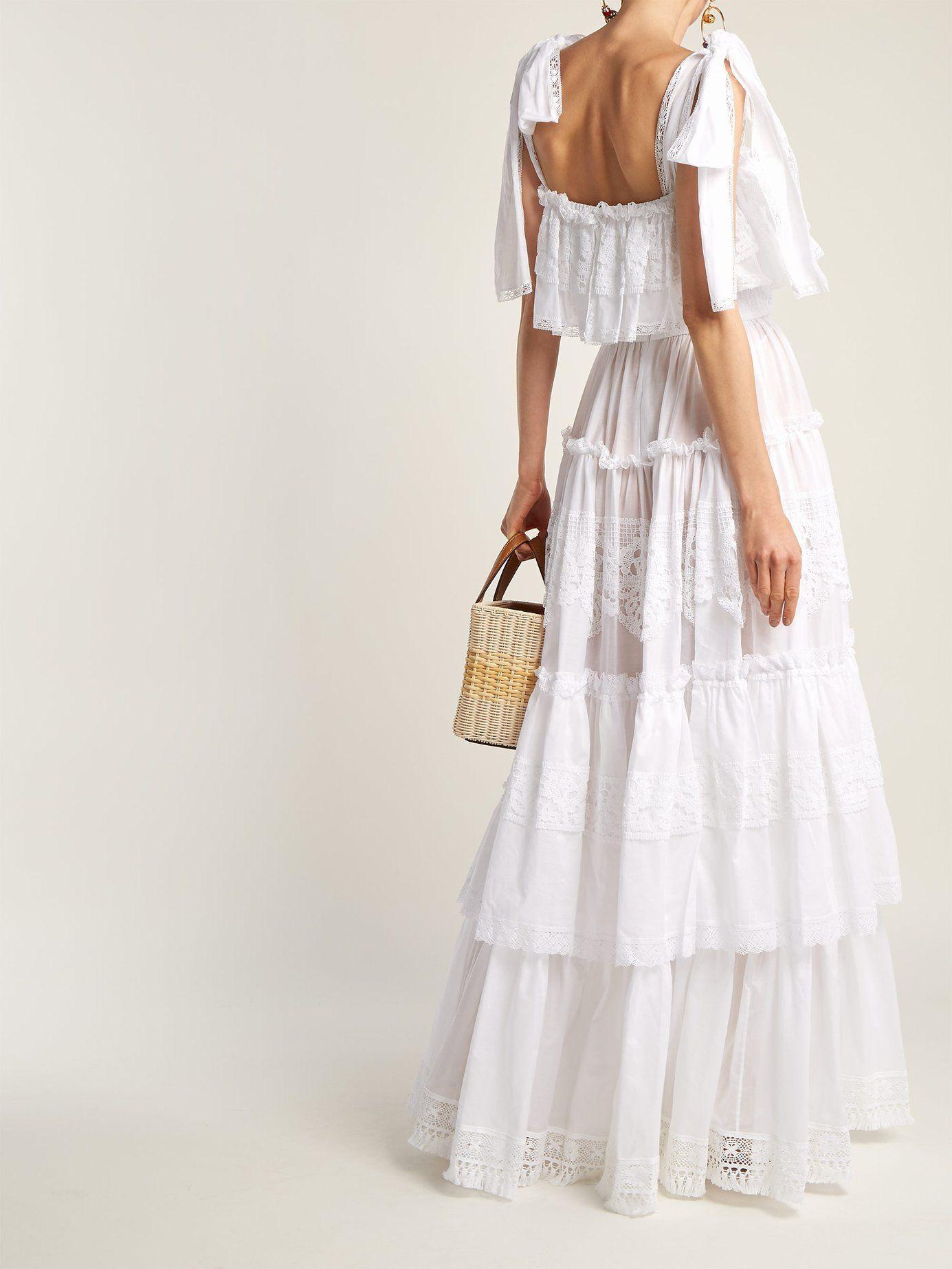 Cotton-mousseline lace-trimmed gown Dolce & Gabbana HM0zlVuO