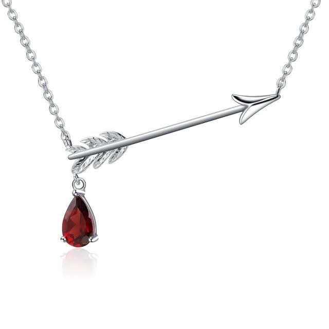 Free Shipping: 4-13 Days Description: Let the beauty and sweetness of this piece arrow you. Fall in love with this classic necklace crafted in 925 silver with a delicate arrow pendant superimposed in the middle and a drop-shaped gemstone suspended in it. A necklace to celebrate love and romance, more than an accessory is an inspiring detail. Care & Maintenance: Store your jewelry in the original packaging or in a soft case to avoid scratches. Avoid all contact with water. Remove jewelry befo