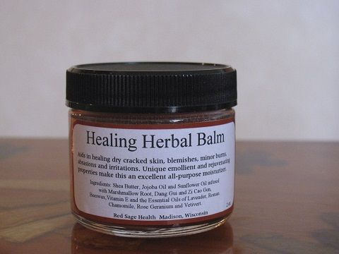 Healing Herbal Balm - Aids in healing dry cracked skin, blemishes, minor burns, abrasions and irritations. Ingredients: Shea Butter, Sunflower Oil and Jojoba oil infused with Marshmallow Root, Dang Gui and Zi Cao Gen, Beeswax, Vitamin E and the Essential Oils of Lavender, Roman Chamomile, Rose Geranium and Vetivert.