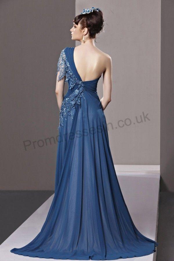 Blue Lace One-shoulder Chiffon Gorgeous Evening Dress 2013