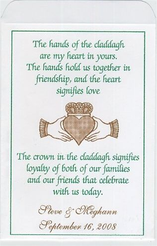 Celtic And Irish Wedding Seed Packet Favors Claddagh Hands With Hearts Personalized And Des Irish Wedding Traditions Irish Wedding Wedding Seed Packet Favors