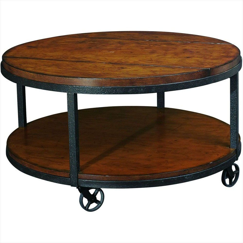 Round Industrial Metal Wood Coffee Table on Wheels Hammary Baja