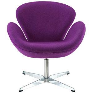Arne Jacobsen Swan Chair in Purple 137-PRP by LexMod