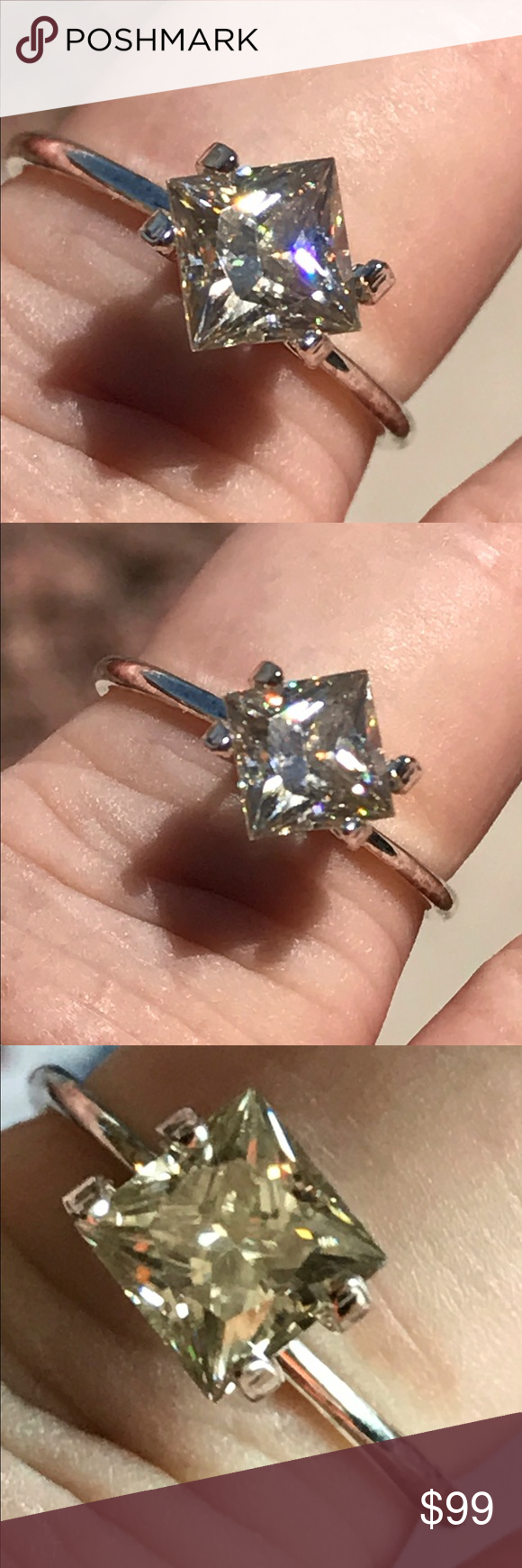 1.20 ctw princess cute Moissanite Vvs clarity off white: yellow . Really picks up the light. Absolutely gorgeous Jewelry Rings