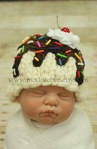 Ice Cream Sundae Vanilla Hat newborn - my baby will have this!! So Sweet