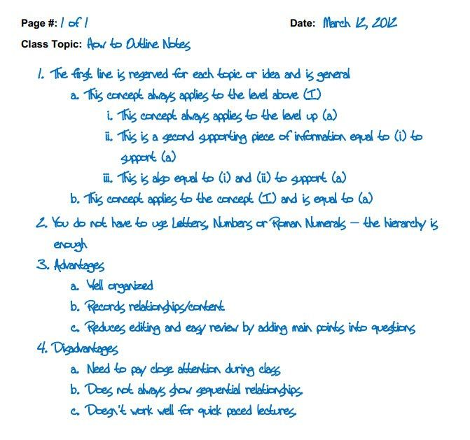 Outline Method Note Taking And Study Skills Study Skills Outline Notes Study Notes