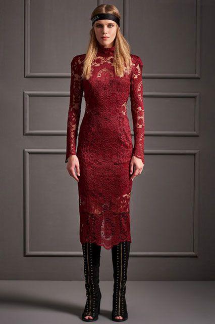 2018 Gece Elbiseleri Kırmızı Uzun Güpür Dantelli Raisa&Vanessa for Trendyol 299 tl