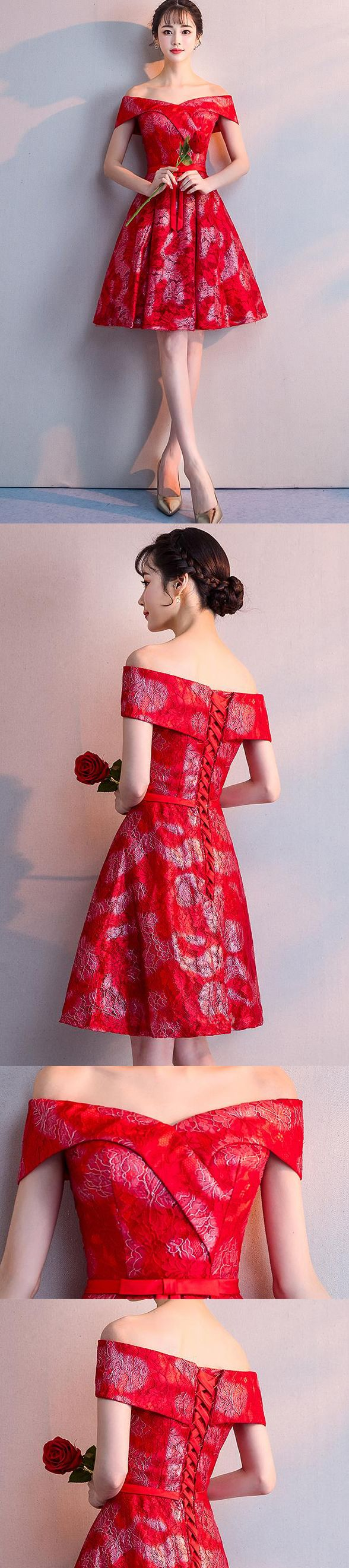 Red lace homecoming dressescharming off the shoulder homecoming