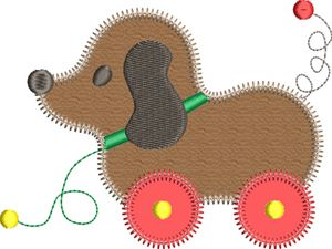 Zig zag dog pull toy applique sizes applique for kids baby