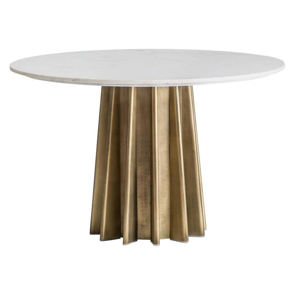 1970s Italian Design Style Round Marble And Metal Pedestal Table Round Marble Dining Table Dining Table Marble Pedestal Table [ 960 x 960 Pixel ]