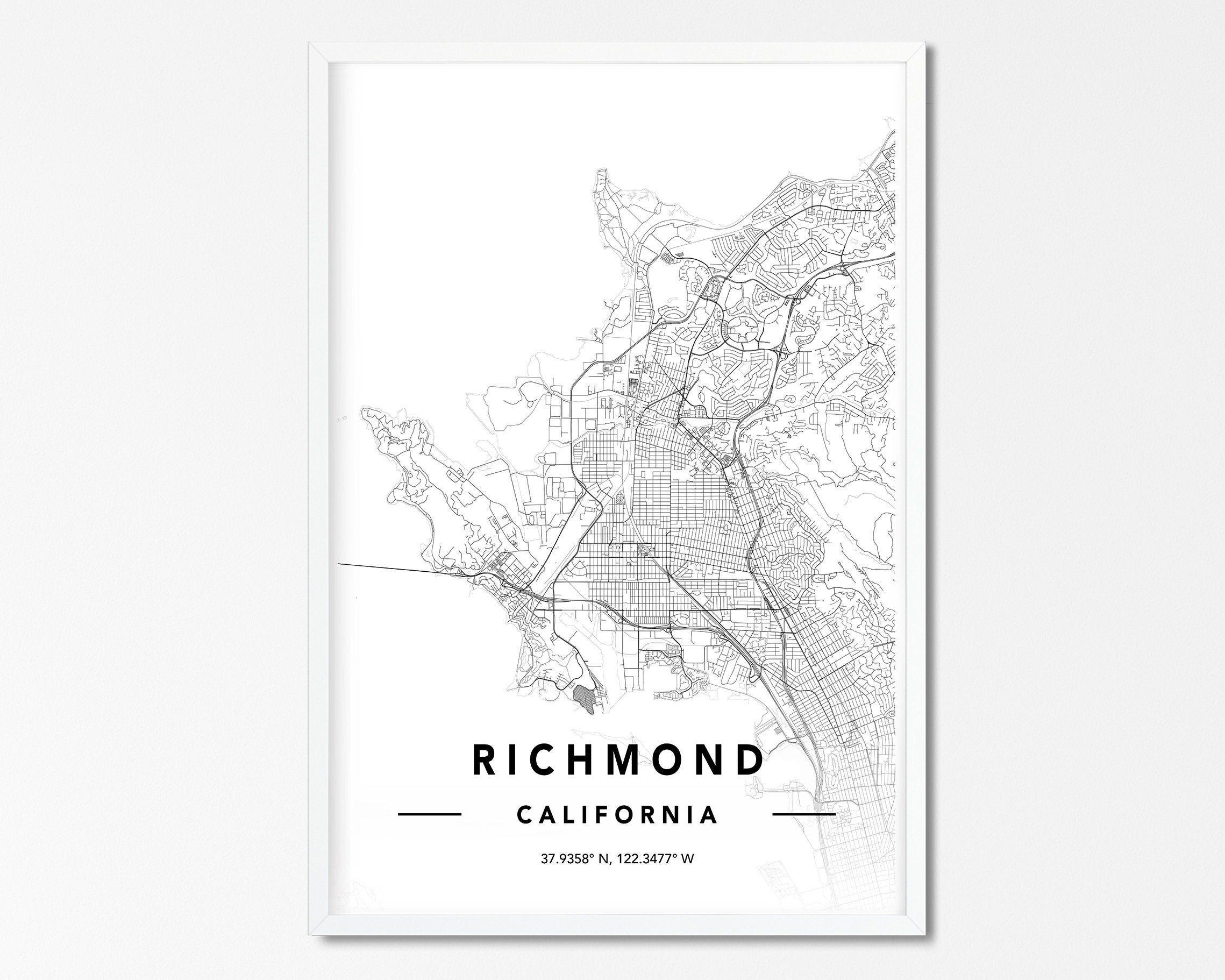 Richmond CA Map Print, Custom Map Print, Richmond CA City