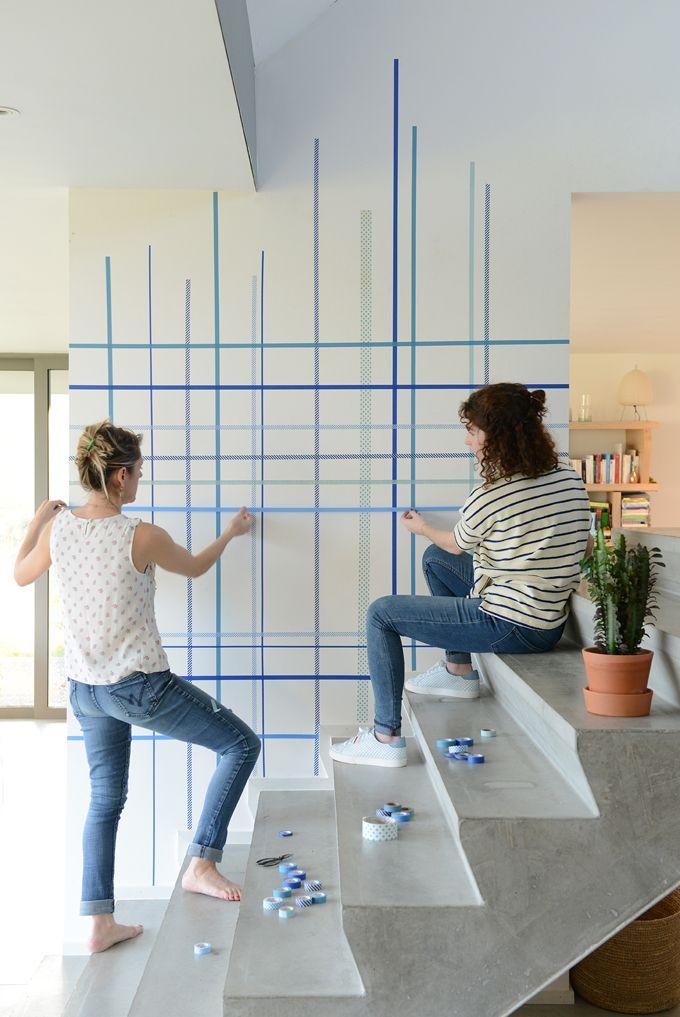d corer un mur avec du masking tape cr a pour la maison. Black Bedroom Furniture Sets. Home Design Ideas