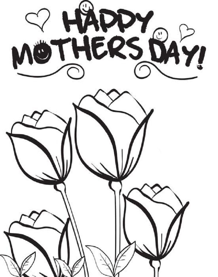 Mothers Day Rose Coloring Pages In 2020 Mothers Day Coloring