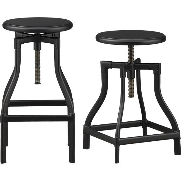 Swell Turner Black Adjustable Backless Bar Stools And Linen Pabps2019 Chair Design Images Pabps2019Com