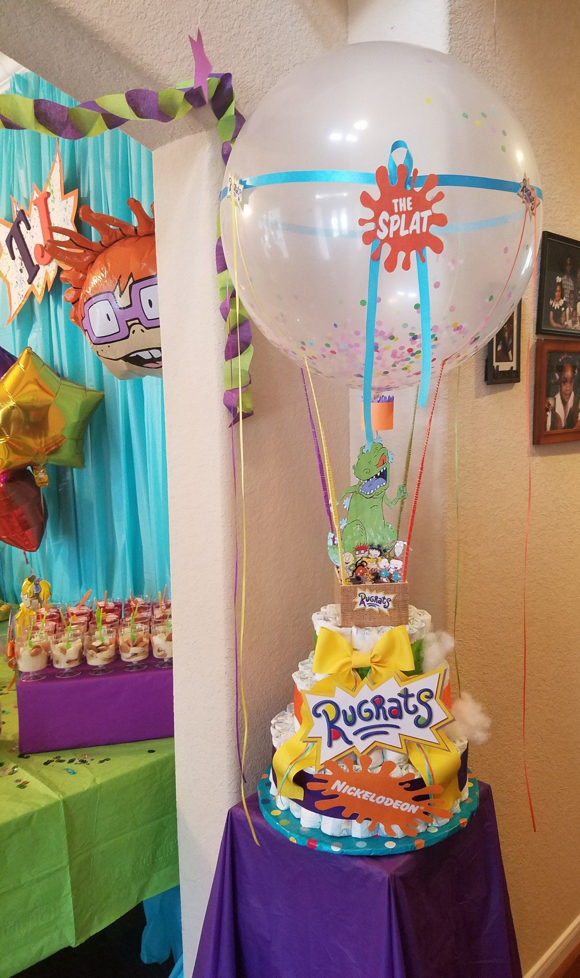Diaper Cake Rugrats Themed Babyshower In 2019 Baby Shower Retro