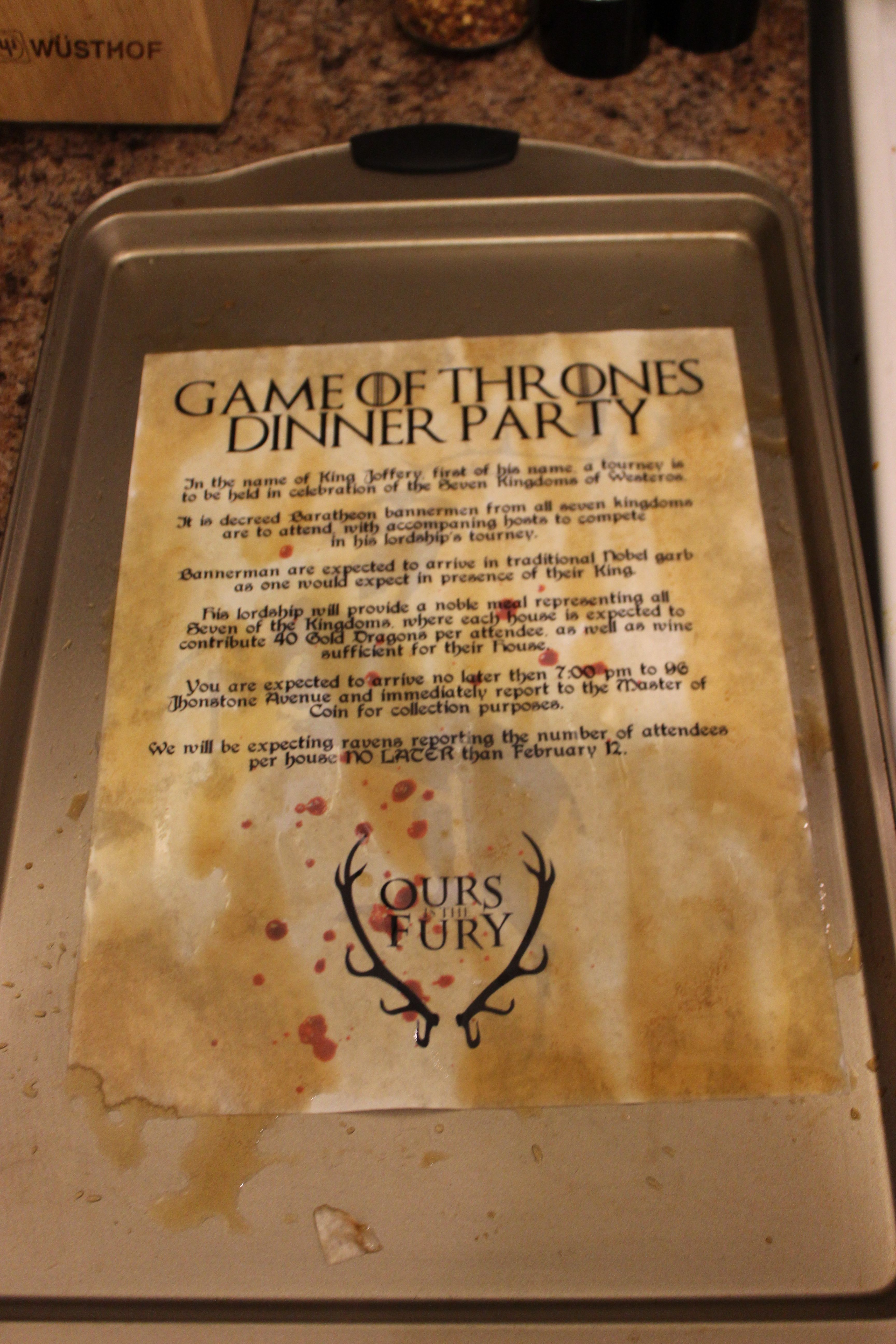 Game of Thrones Dinner Party Menu #GoT | Game of Thrones Dinner ...