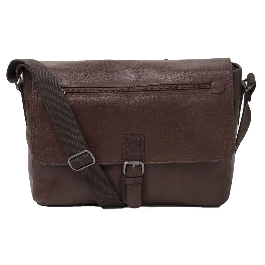 Cobb co rugged leather rfid blocking satchel brown