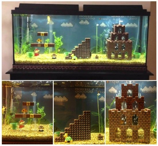 Super mario fish tank decorations amusing