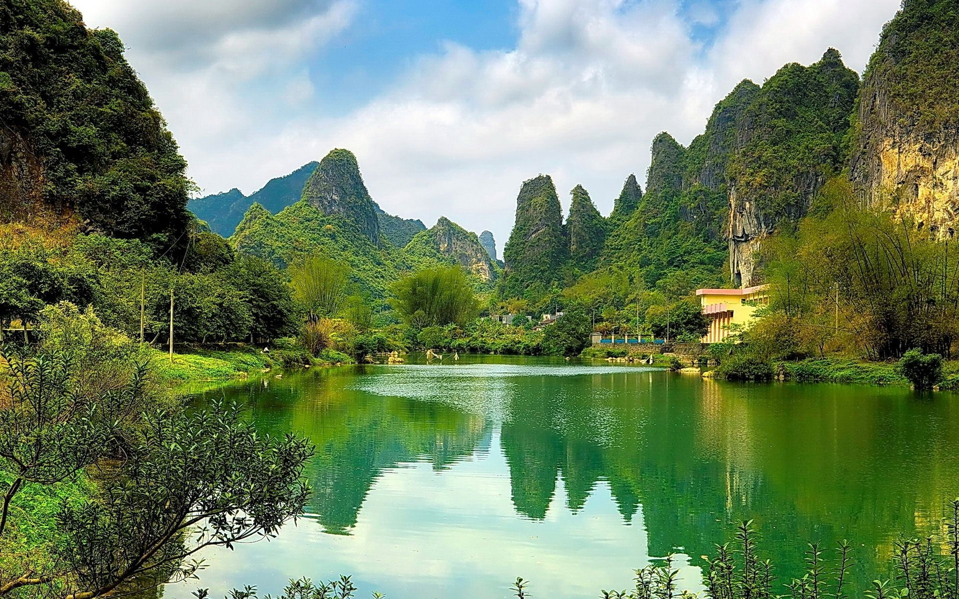 Download Green Facebook Backgrounds Hills Greenery Background Lake Hd Nature Wallpapers Beautiful Nature Nature Desktop