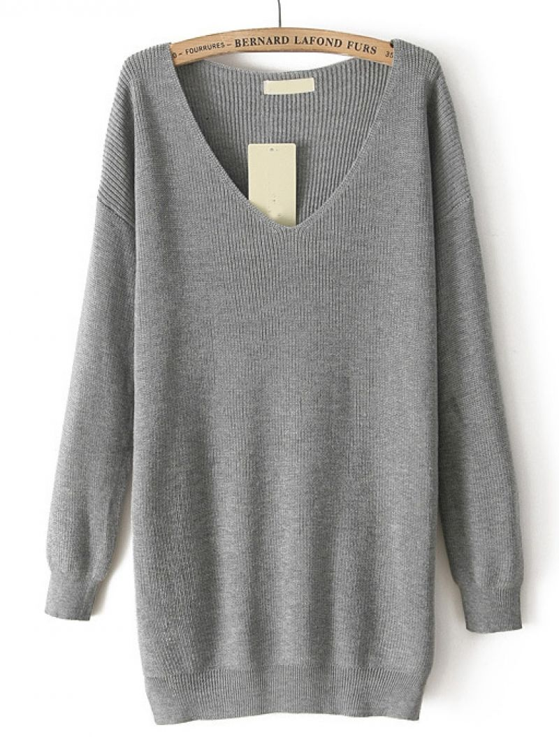 Grey V Neck Long Sleeve Loose Knit Sweater | Loose knit sweaters ...