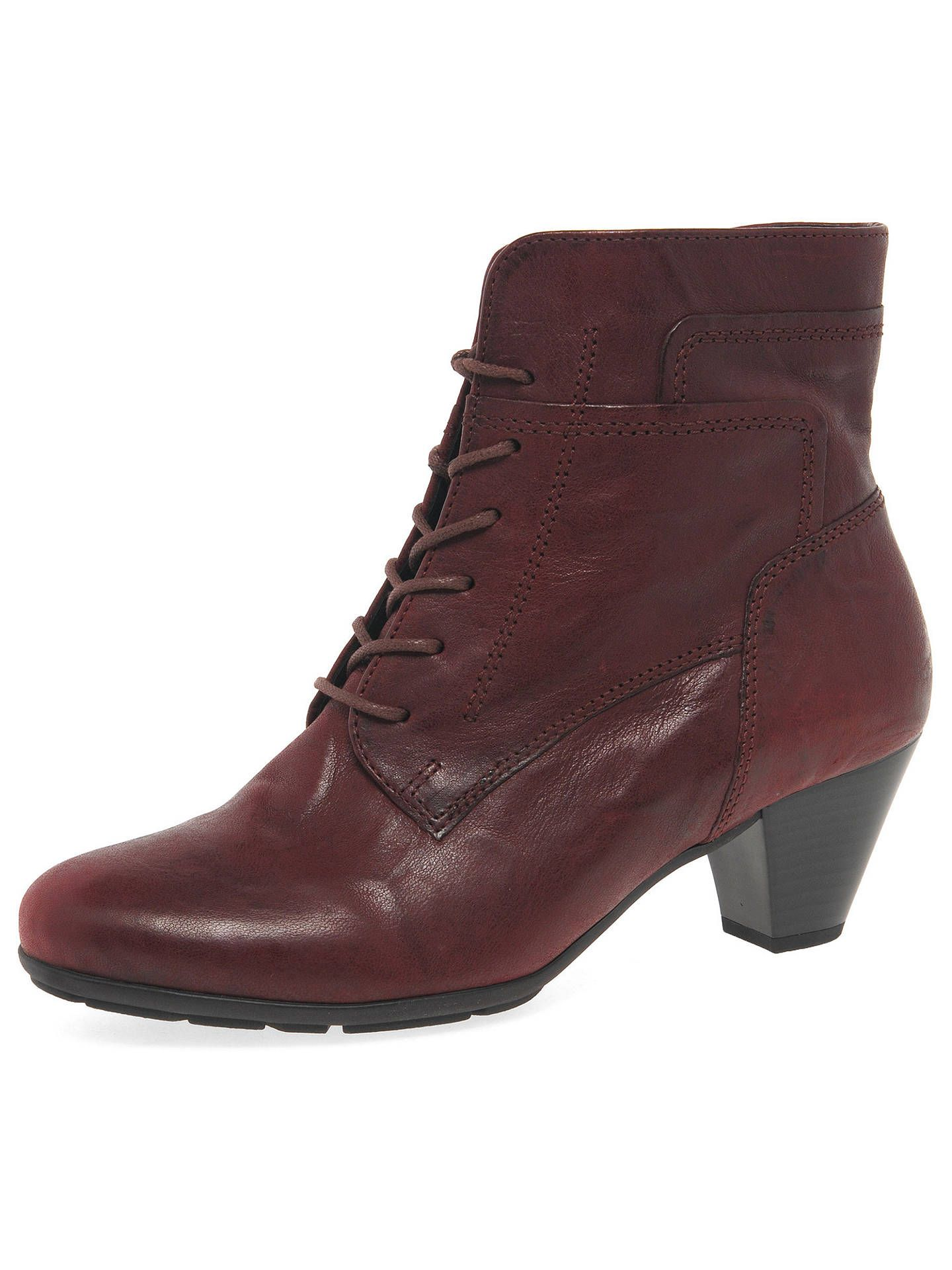 6496a222a22e4 BuyGabor National Lace Up Cone Heel Ankle Boots, Merlot Leather, 3 Online  at johnlewis.com