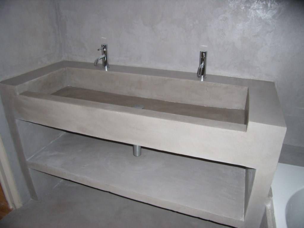 Vasque en siporex et b ton cir deco en 2019 vasque beton cir et salle de bain - Meuble en beton cire ...