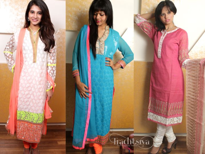 Salwar Kameez PPT Collage white and color on left esp