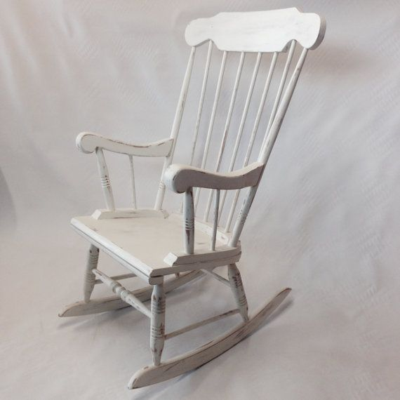 Vintage Shabby Chic Rocking Chair Painted By Tautyoftast