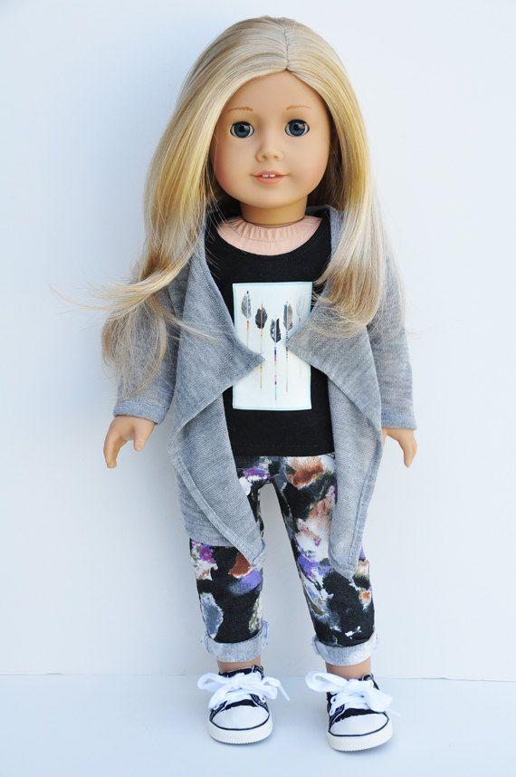 18 inch Doll Clothes - Grey Cascade Cardigan, Wrap, Sweater, AG Doll #americandolls