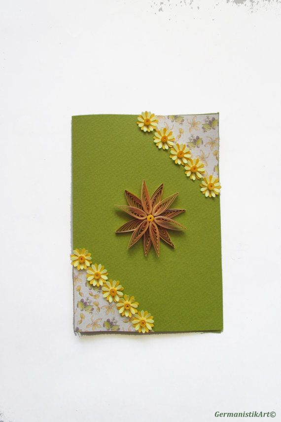 flower greeting card quilling birthday card in yellow