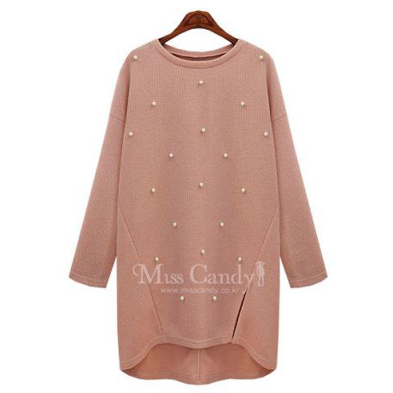 Plus size fashion kleding katoen parel vrouwen trui herfst lente winter  lange kraal een stuk garen jurk basic merk mode 016147b0b