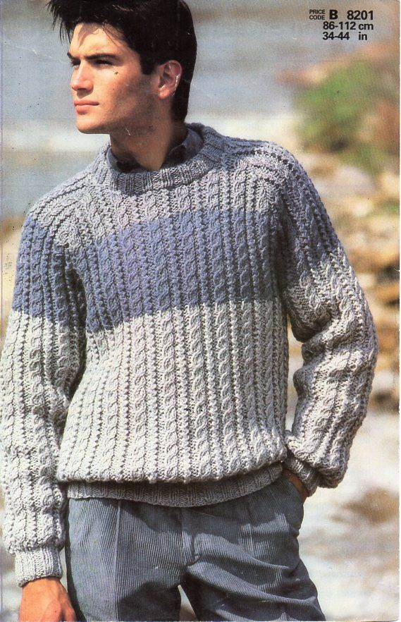 cd80802679ce61 mens knitting pattern PDF mens chunky cable sweater mens crew neck jumper 34-44